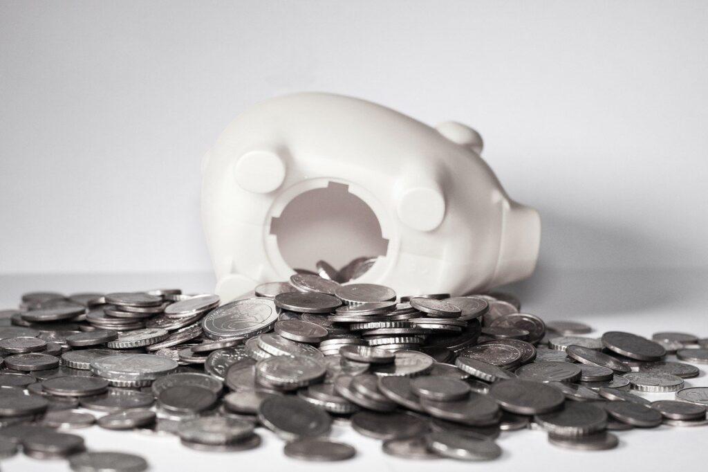 money, piggy bank, coins